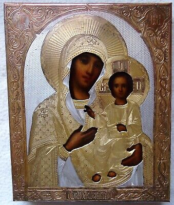 Antique Russian Icon of the Smolensk Mother of God .19th Century.