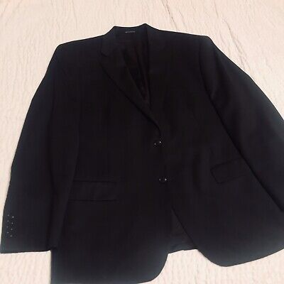 Mens Stafford Black Suit Jacket Blazer Size 46 Regular Interior Pockets EUC