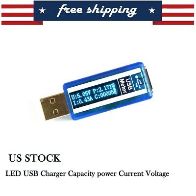LCD USB Current Voltage Detector Charger Capacity Tester Meter Power US