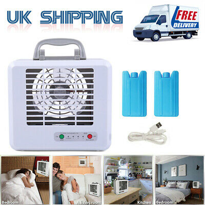 3 Speed Mini Air Conditioner Cooler Fan Space Cooling Ice Refrigerant Office Set