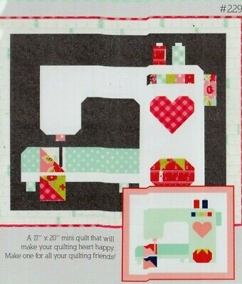 Stitched With Love - pieced sewing machine mini quilt PATTERN - Thimble Blossoms