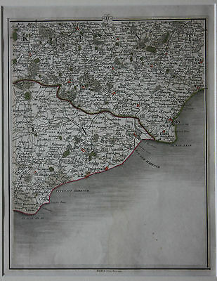 Original antique map KENT, MAIDSTONE, ASHFORD, SUSSEX, HASTINGS, J. Cary, 1794
