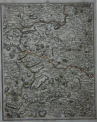 Original antique map DURHAM, ASKRIGG, KIRKBY STEPHEN, HEXHAM, Cary, 1794