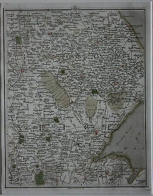 Original antique map LINCOLNSHIRE, SLEAFORD, GRANTHAM, LOUTH, WRAGBY, Cary, 1794