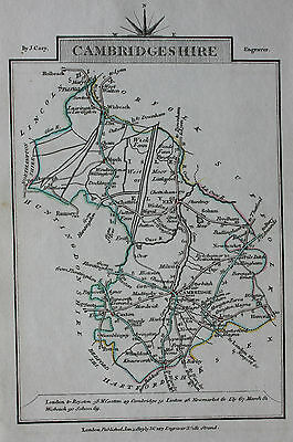 Original antique map CAMBRIDGESHIRE, CAXTON, ELY, WISBEACH, John Cary, 1819