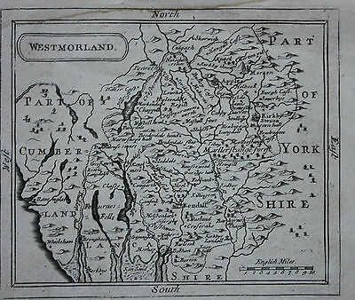 Original antique county map of WESTMORELAND, LAKE DISTRICT Seller / Grose c.1775