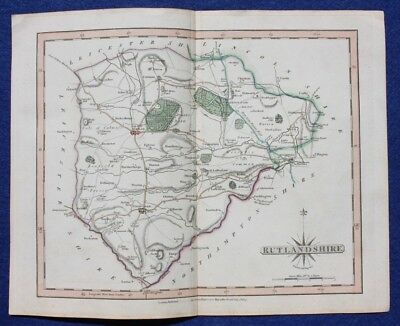 Original antique map RUTLAND, RUTLANDSHIRE, John Cary, 1809
