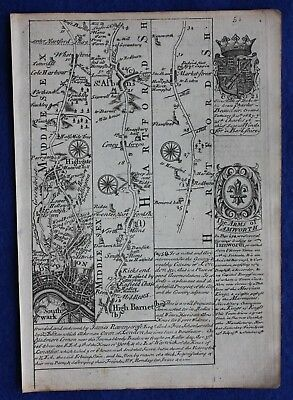 Original antique road map LONDON, HERTFORDSHIRE, BEDFORDSHIRE, E. Bowen, c.1724