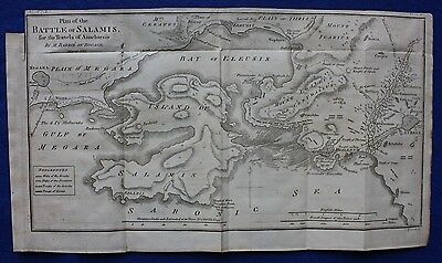 Original antique map BATTLE OF SALAMIS, GREECE, Barbie du Bocage, 1796
