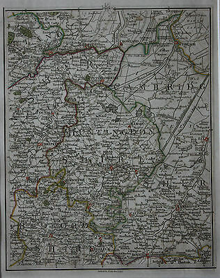 Original antique map HUNTINGDONSHIRE, CAMBRIDGE, PETERBOROUGH, ELY, Cary, 1794