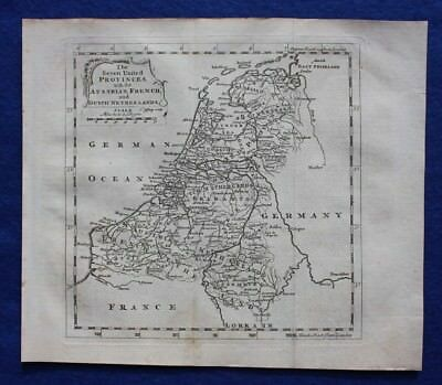 Original antique map NETHERLANDS, 'SEVEN UNITED PROVINCES', T. Jefferys, c.1756