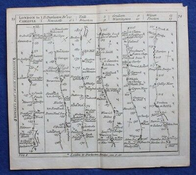Original antique road map CHESHIRE, LANCASHIRE, WIGAN, PRESTON, Bowles c.1792