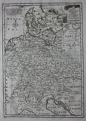 Original antique map GERMANY DIVIDED INTO ITS CIRCLES, Emanuel Bowen, 1747