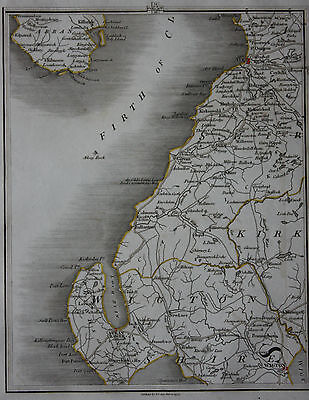 Original antique map SCOTLAND, FIRTH OF CLYDE, STRANRAER, AYR, ARRAN, Cary,1794