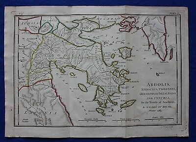 Original antique map ANCIENT GREECE, ARGOLIS, ARGOS, Barbie du Bocage, 1796