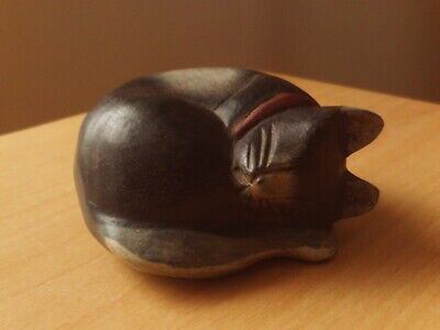 Wooden Carved Black Cat Sleeping Statue Figurine.