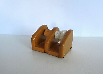 Vintage Hand Made Wood Timber Crochet Embroidery Thread Spool Holder