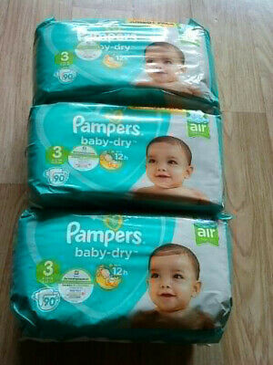 LOT DE 270 (3x90) COUCHES PAMPERS BABY-DRY TAILLE 3 (6-10 kg) Neuf/emballé