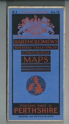 Bartholomews Revised Half Inch Cloth Map Perthshire Sheet 12 1936 Perth Stirling
