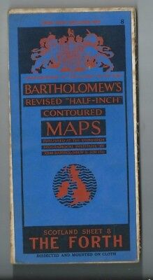 Bartholomews Revised Half Inch Cloth Map Th Forth Sheet 8 1934 Edinburgh Glasgow