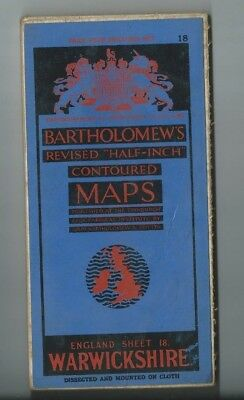 Bartholomews Revised Half Inch Cloth Map Warwickshire Sheet 18 1936 Coventry etc