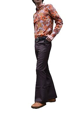FLARES Brown Mens Bell Bottoms Hippie vtg indie Trousers Disco 60s 70s Pants
