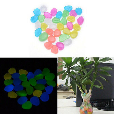 100x Glow In The Dark Stones Pebbles Rock Aquarium Fish Tank Garden Walk DecorGN