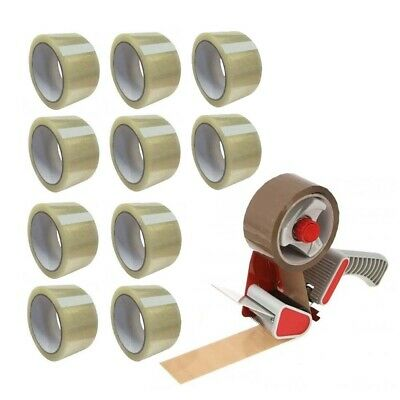 "Tape Gun Dispenser 2"" + 10 Rolls Clear + 1 Roll Brown Packing Parcel Box Tape"