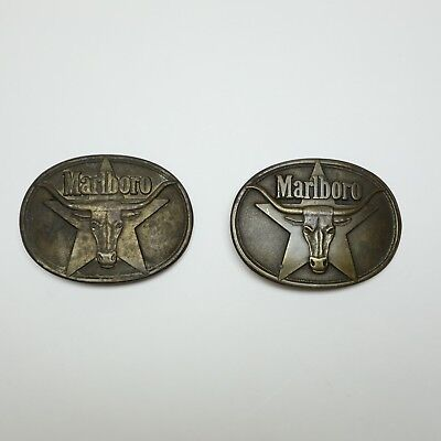 Vtg Marlboro Solid Brass Belt Buckle Longhorn Steer Star Phillip Morris Lot of 2