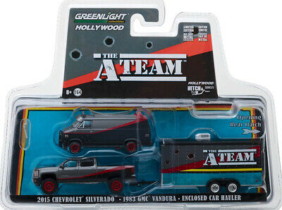 '83 GMC Vandura + 2015 Chevrolet Silverado + Hauler A-Team 1:64 GreenLight 31060