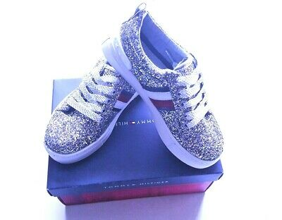 f7c31fc4f NEW Tommy Hilfiger Sneakers Rae Chunky Silver Sparkle Shoes Glitter Girls  Sz 13