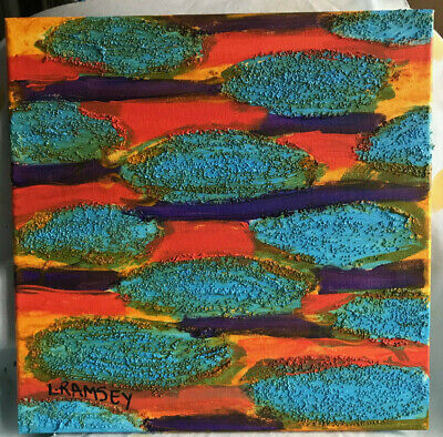 """Sunset 12""""x12"""" colorful pattern disks abstract original painting"""