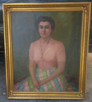 Antique Old Portrait Oil Painting on Canvas Woman Lady Framed Artist Signed 1947