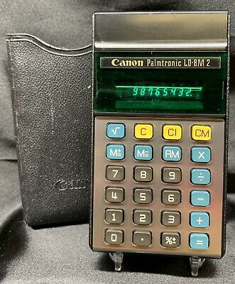 Vintage RARE CANON Palmtronic LD-8M 2 Retro Electronic Calculator with Sleeve