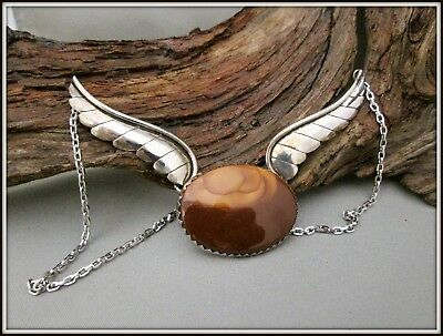 Vtg Ooak Handcrafted Jasper Picture Rock Sterling Silver Winged Necklace Choker