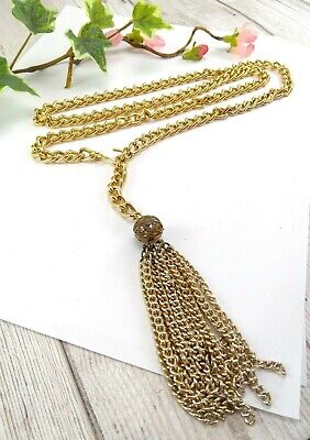 Vintage Gold Tone Metal Chain Tassel Belt