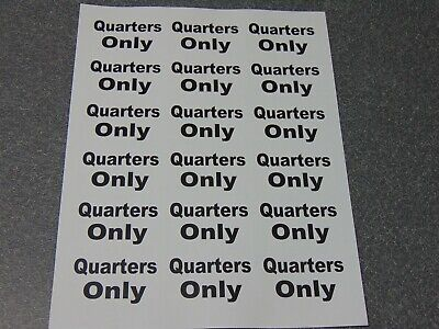 "18 New ""Quarters Only"" Sticker. Arcade, Skee Ball, Gambling, Quarter Pusher Etc"