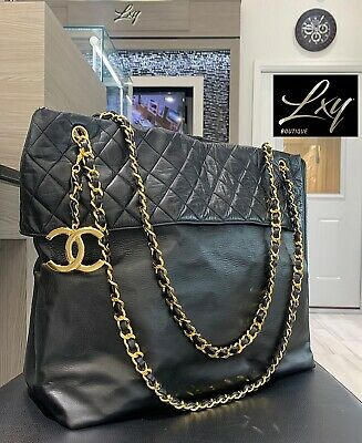 8b2f4a8c54b7 Authenticated Vintage Chanel Extra Large Tote Shoulder Bag Lambskin Leather