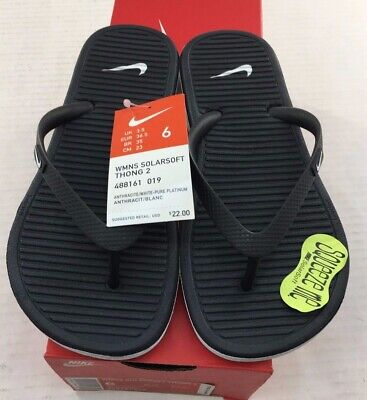 f7077c0c61e4 NIKE WOMEN S SOLARSOFT Thong II Sandals 488161-010 Black Grey NEW ...