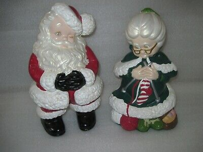 "HTF VINTAGE ATLANTIC Mold Ceramic Winking SANTA & MRS CLAUS Figurines 14""  Tall"