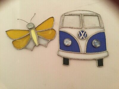 Stained Glass VW Retro Campervan & butterfly Suncatcher or Wall Mount.