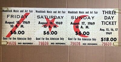 Vintage Woodstock Ticket Poster 3 Day Pass 1969 Concert Pin-up Peace Love Print