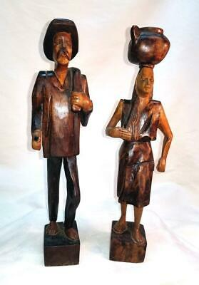 Vintage Wooden Spanish Man & Woman Statues Hand Carved Central or South American