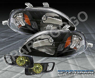 99-00 Civic Si Jdm Black Amber Headlight With Yellow Driving Bumper Fog Lamps