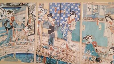 Antique Japanese Framed Triptych