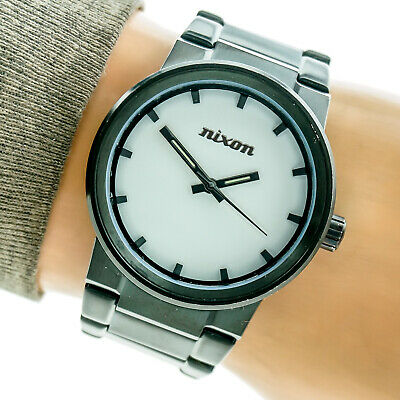 Nixon Mens Watch The Cannon All Black White Dial Stainless 100m Working