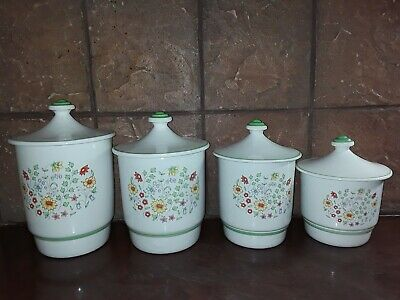 Wildflowers Canisters Ceramic 4 PC Set White Green Vintage
