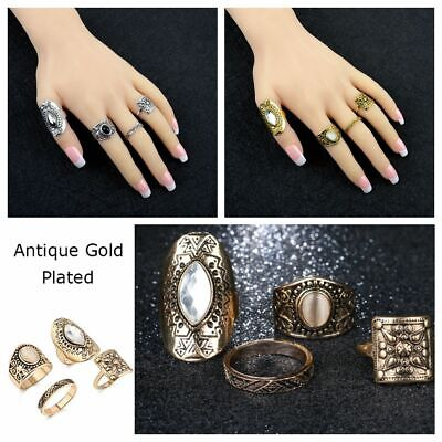 Carved Totem Ancient Gold Silver Plated Knuckle Midi Rings Resin Crystal
