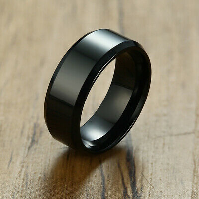 High Polished Black Stainless Steel Band Men Male Wedding Ring Gift US Size 5-13