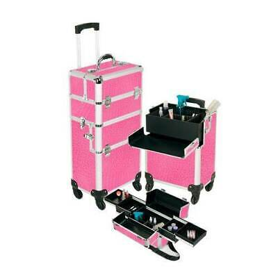 Pro Aluminum Makeup Case Pink 4 Wheeled Spinner Style No. TS-88R Brand New